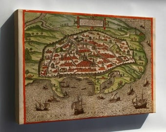 Canvas 16x24; Alexandria Map 1588 As Depicted In The Braun And Hogenberg Civitates Orbis Terrarum Vi Of 1617