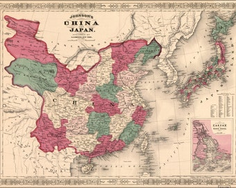 16x24 Poster; Johnsons Map Of China And Japan 1869