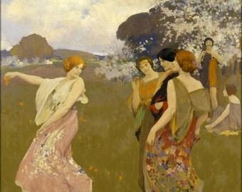 16x24 Poster; Arthur F. Mathews - Spring Dance -