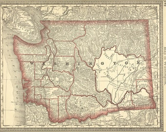 16x24 Poster; Map Of Washington State 1881