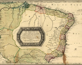 16x24 Poster; Map Of Brazil 1656