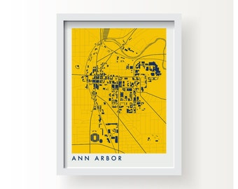 ANN ARBOR MICHIGAN Map Print - graphic drawing art poster University of Michigan Wolverines