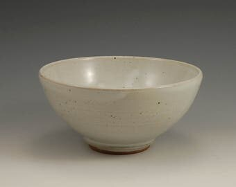 White Stoneware Bowl - Rustic Beige Gray Ceramic Pottery Bowl Wheel Thrown Handmade Reduction Gas Fired - 5.5 inches