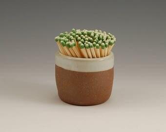 Match Striker Stoneware  Ceramic Pottery Match Strike White with Raw Clay Unglazed Clay  Wheel Thrown Handmade