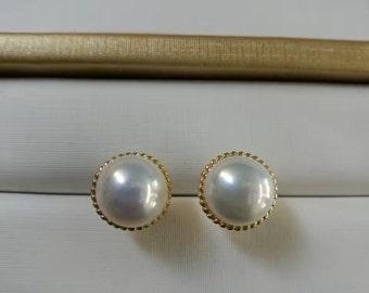 White genuine freshwater real pearl earring stud,Diamond Stud Sterling Silver pearl stud earring,button wedding pearl earings