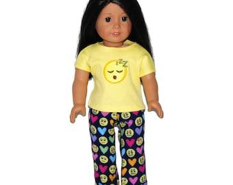 "18"" Doll Pajama Outfit - Sleepy Emoji Yellow Tee Shirt & Navy Emoji/Hearts Flannel Bottoms - Doll Clothes fits 18"" American Girl Dolls"