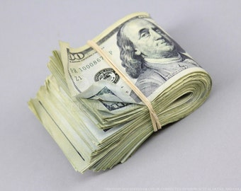Prop Money Used Look New Style 10,000 FULL PRINT Fat Folded Wad for Movie, TV, Videos Novelty