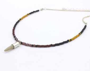 Dainty Choker Necklace , African Trend Inspired Seed Bead Choker with Spike Charm , Extendable, Handmade Jewelry by  Detail London.