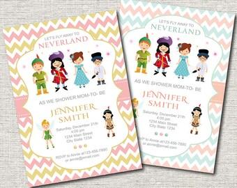 Neverland Baby Shower Invitation, Peter pan Baby Shower Invite, Coral, GOld, mint, Girls baby shower, Printable
