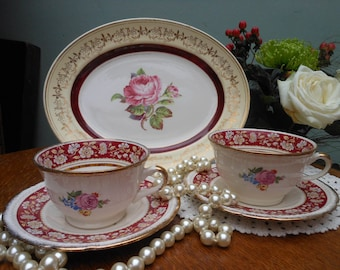 MAJESTIC VELLUM TEA for Two - with Cake plate -by Swinnertons - Tea Set -Tea cups - Pink Roses - Gold chintz - Afternoon tea - 1930's/40's