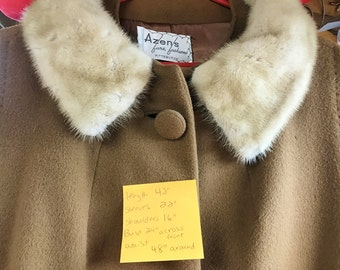 Cashmere Coat Fur Collar Vintage Women's