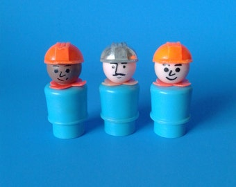 "Fisher Price Little People "" #942 Lift & Load Construction Workers "" 1970's"