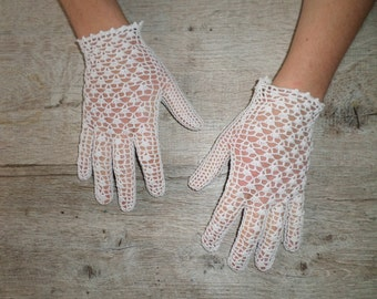 Gloves white vintage crochet