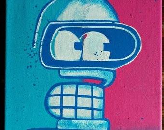 Hand Painted Futurama Bender Canvas