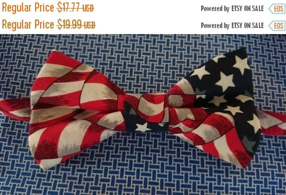 Winter Sale CLEARANCE  Childs Patriotic American Flag Pretied Bow Tie Pretied Bowtie Red, White & Blue Bow Tie Novelty Tie