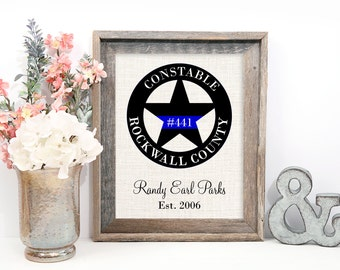 Constable Star, Police Officer Gifts, Police Officer Decor, Police Sign, Print, Customized for Any Badge Design