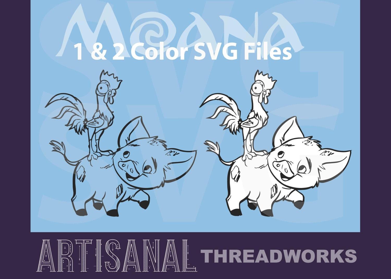 moana - hei hei and pua 1 and 2 color minimalist silhouette