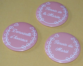 Pocket mirror round 75 mm gift wedding bridesmaid future married witness coral color customizable