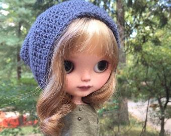 Neo Blythe Doll Slouchy Beanie Hat in Slate Grey
