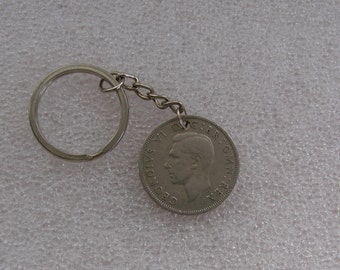 69th  Birthday ...1948 Two Shilling Coin Key Ring gift