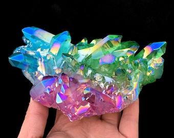 Free Shipping!Colorful Aura Quartz Crystal Cluster Platinum Titanium Silicon Zircon Coated