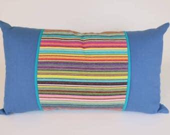 "Decorative Handmade Throw Pillow, Bright Colorblock Pillow, Ticking Stripes in 100% cotton, Lumbar Pillow 14 x 24"""