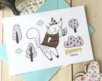 Funny Forest POP-UP Forest Animal Blank Greeting Card With Envelope/1PC/Racoon