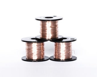 1623_Rose gold wire 28 gauge, Jewelry wire 0.315mm, Pink gold wire, Golden wire spool, Coloured copper wire, Craft wire, Copper wire_70 m.
