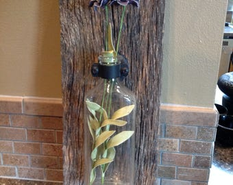 Rustic Bud Vase/Wall Sconce with Vintage Glass Bottle