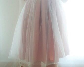 Skirt length adaptable in tulle Ribbon Daria skirt satin finish