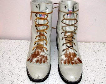 sz 7.5 b vintage oyster color leather justin  lace up granny combat boots