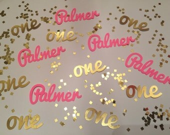 Personalized First Birthday Confetti - Any Name and One in hot pink and gold