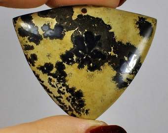 Natural Jasper Pendant Yellow-black color Triangle shape. 40x48x6 mm. 68.55 ct.