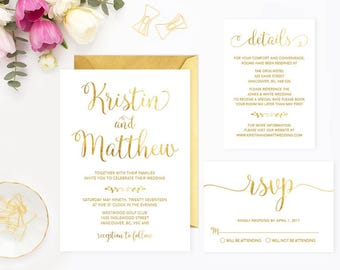 White Gold Wedding Invitation Set, Printable White Gold Wedding Invitation Suite, Faux Gold Foil White Wedding Invitation Suite, GFWF