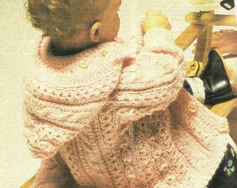 Baby Toddler Aran Style Cable & Twist Panel Jacket knitting pattern 99p pdf
