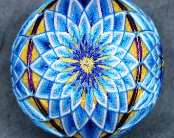 4 Inch Diameter Japanese Temari Ball (Embroidered Ornamental Ball), Elongated Floral Pattern, Blue, Yellow