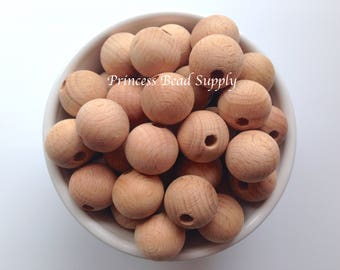 20mm Natural BEECH Wood Round Teething Beads,  Beech Wood Beads, Natural Unfinished Wood Teething Beads,  Natural Wooden Beads