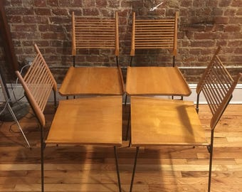 Rare paul Mccobb Shovel dining chairs set of 4 blonde maple iron base planner group mid century modern