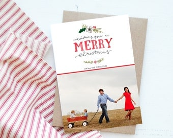 Wishing you a Merry Christmas Watercolor Photo Christmas Card