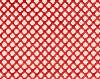 SCALAMANDRE POMFRET GEOMETRIC Cut Velvet Fabric 10 Yards Coral