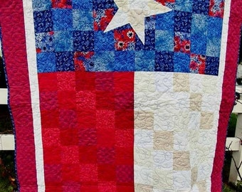 Quilt Texas state flag quilt, lap quilt, couch quilt, twin coverlet quilt, twin topper quilt---blues, reds, whites, beiges
