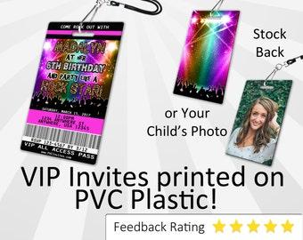 Rockstar Invitation PLASTIC Rockstar, Rockstar Invitation, Birthday Invitation, Birthday Invite, Rockstar Birthday Invitation SKU-INV227