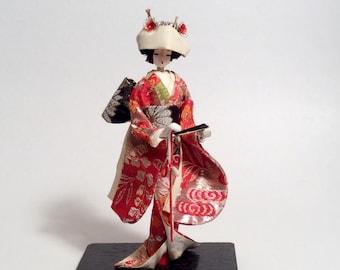 Vintage Silk Fabric Handmade Japanese Geisha Doll