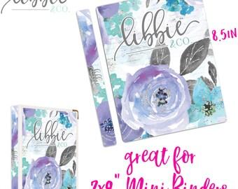 BC2 Libbie and Co. Gray Purple Floral Binder Cover Stickers, Custom Binder, Sticker Storage, School Supplies, Office Decor, Planner Stickers