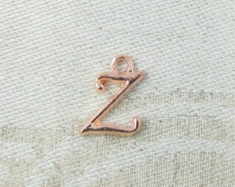 """Rose Gold Script Letter """"Z"""" Charms 1 or 5 letters per package  ALF018z-RG"""