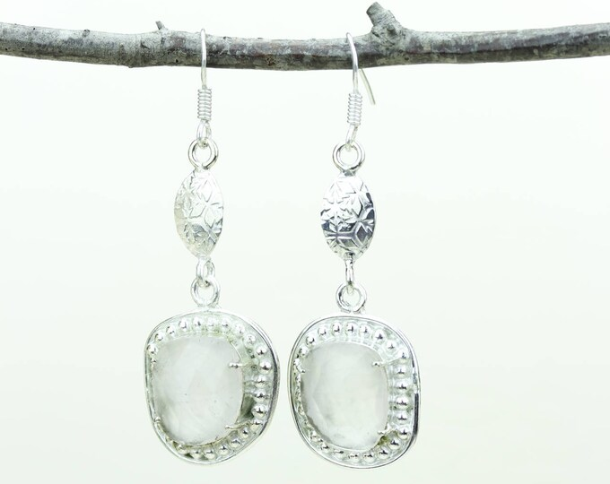 Rose Quartz 925 SOLID (Nickel Free) Sterling Silver Italian Made Dangle Earrings e676