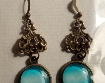 Handmade Teal Bead Dangle Earrings