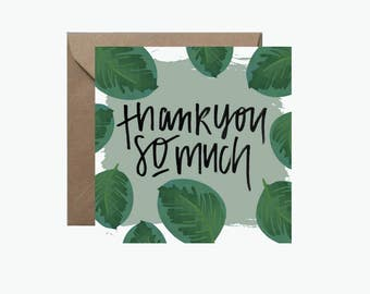 Thank You So Much Square Greeting Card | Tropical Leaves