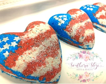 Bath Bomb- Bubble Bath- Gift Ideas- Gifts for Her- Kids Bath- Independence Day- 'Merica Bath Bomb