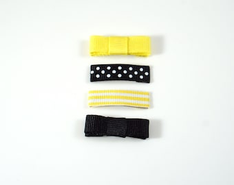 Yellow and Black. Baby Hair Clips. Baby Snap Clip. Tiny Baby Hair Clip. Tiny Baby Snap Clip. Baby Barrettes. Baby Bow Set. Small Bow Set